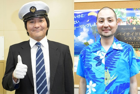 タクシー運転手役のスリムクラブ真栄田(左)、ボートハウスの店長役のスリムクラブ内間(右)。(c)TBS