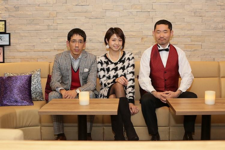 「名古屋行き最終列車2018」より。左から野間口徹、中村静香、今野浩喜。(c)メ~テレ