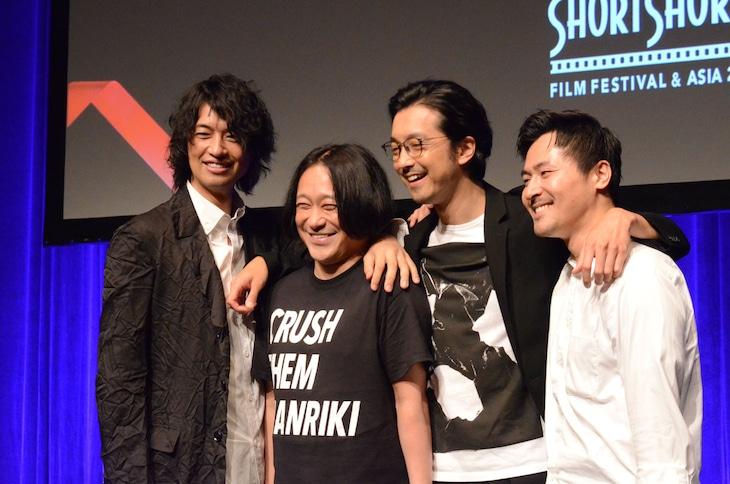 本日6月21日、「チーム万力 presents ショートフィルムの未来地図」に登壇したチーム万力。(左から)斎藤工、永野、金子ノブアキ、清水康彦監督。