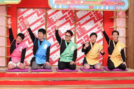 (左から)タカアンドトシ・タカ、麒麟・川島、ナイツ土屋、霜降り明星。(c)中京テレビ