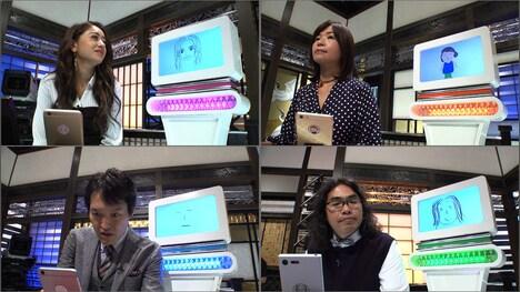 弟子AIと共に大喜利バトルに臨む千原ジュニア(左下)、ロッチ中岡(右下)、大久保佳代子(右上)、池田美優(左上)。(c)NHK