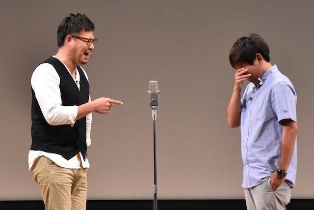 アルコ&ピース平子(左)がネタ中、本来のセリフにはないという「てやんでえ」という言葉を発した直後のワンシーン。