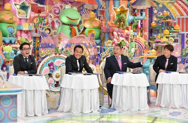 「アメトーーク!」の「芸人ドラフト会議」に指名者として出演する(左から)おぎやはぎ矢作、さまぁ~ず三村、出川哲朗、陣内智則。(c)テレビ朝日