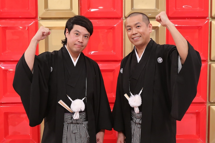 「フットンダ王決定戦2019」MCのタカアンドトシ。(c)中京テレビ
