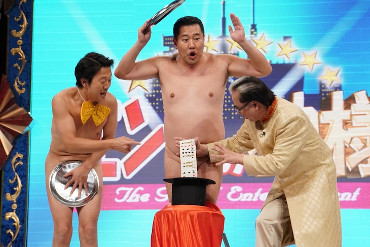 左からアキラ100%、とにかく明るい安村、Mr.マリック。(c)日本テレビ