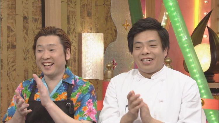 「本能Z」で料理の腕前を披露する(左から)ペンギンズ・ノブオ、バンビーノ藤田。(c)CBC