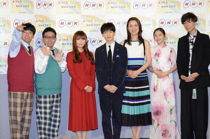 左からミキ、中川翔子、上村海成、遼河はるひ、佐野ひなこ、吉原雅斗。