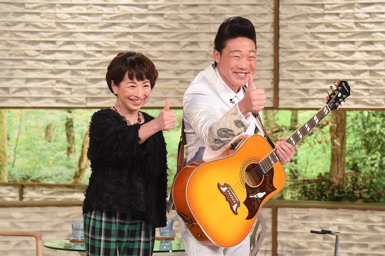 阿川佐和子(左)とゲストのANZEN漫才みやぞん(右)。