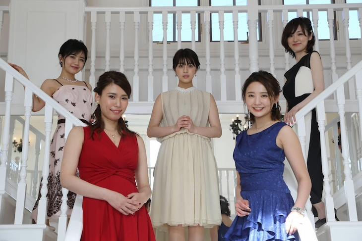 「ザ・リアリティ・ショー~突然コマーシャルドラマ2~」に出演する(左から)小池美由、紺野ぶるま、柳ゆり菜、おのののか、大後寿々花。(c)フジテレビ