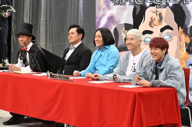 (左から)バイきんぐ小峠、くりぃむしちゅー有田、永野、小森隼、中務裕太。(c)TBS