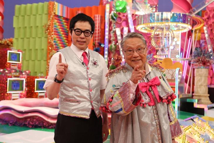「金曜プレミアム『IQサプリ2019 令和も超スッキリスペシャル!』」に出演する(左から)今田耕司、伊東四朗。(c)フジテレビ