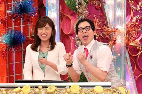 (左から)久慈暁子アナ、今田耕司。(c)フジテレビ