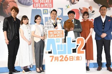 左から宮野真守、伊藤沙莉、永作博美、バナナマン、佐藤栞里、内藤剛志。