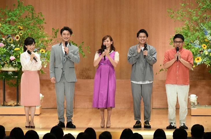 「題名のない音楽会」に出演する(左から)松尾由美子アナ、石丸幹二、藤本美貴、ミキ。(c)テレビ朝日