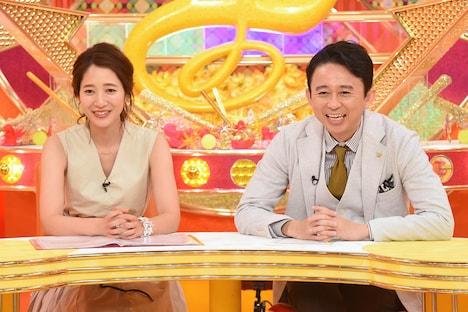 「レディース有吉」に出演する(左から)吉田明世、有吉弘行。(c)関西テレビ