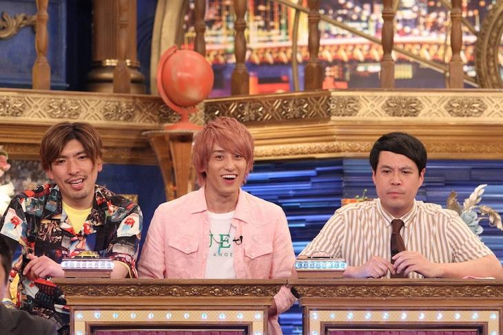 「今夜はナゾトレ」に出演する、(左から)EXIT、タカアンドトシ・タカ。(c)フジテレビ