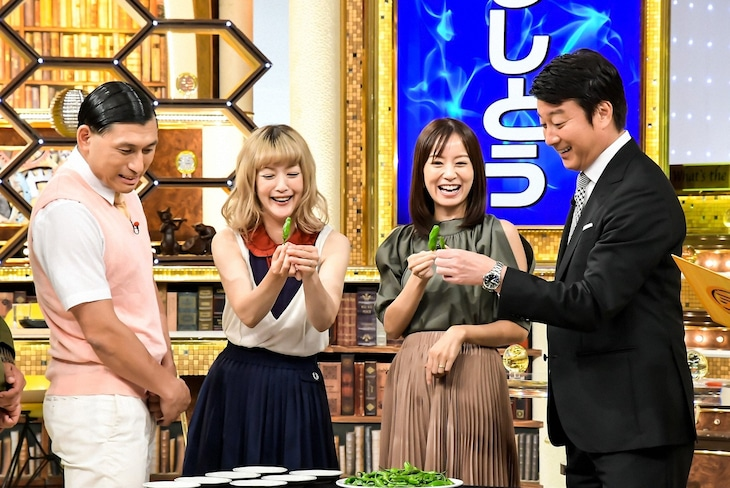 「この差って何ですか?」に出演する(左から)オードリー春日、松嶋尚美、鈴木亜美、加藤浩次。(c)TBS