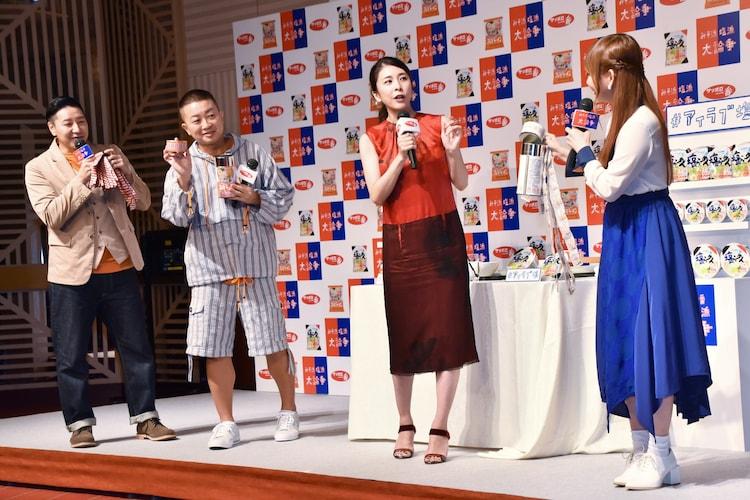 (左から)チョコレートプラネット、竹内結子、中川翔子。