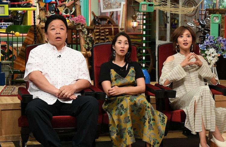 「名門校の天才・奇才 何してる?」コーナーに出演する(左から)伊集院光、坂下千里子、夏菜。(c)テレビ朝日
