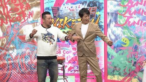 左からケンドーコバヤシ、千原ジュニア。(c)読売テレビ