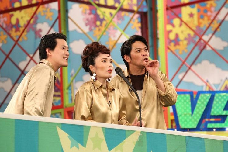 (左から)霜降り明星・粗品、平野ノラ、ますだおかだ岡田。(c)フジテレビ