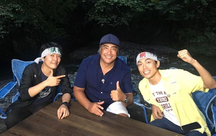左からうしろシティ阿諏訪、田中ケン、たけだバーベキュー。(c)BS日テレ