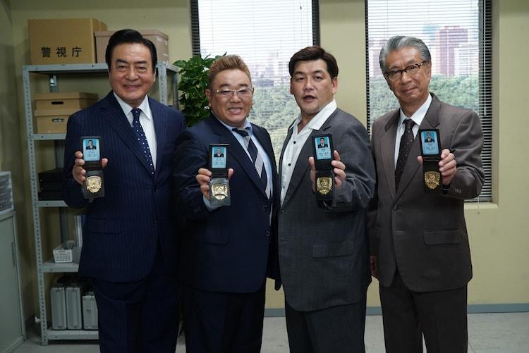 (左から)高橋英樹、サンドウィッチマン、高田純次。(c)テレビ朝日