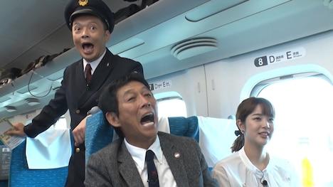 (左から)中川家・礼二、明石家さんま、久代萌美アナ。(c)フジテレビ