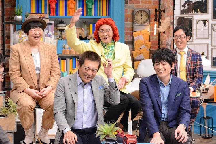博多華丸・大吉と(後列左から)森三中・大島、アイデンティティ。