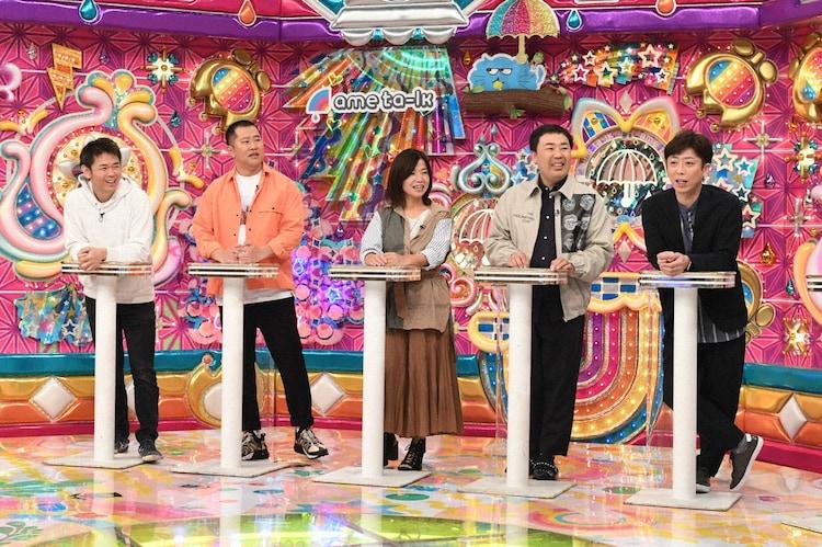 (左から)品川庄司・品川、とにかく明るい安村、大久保佳代子、フットボールアワー。(c)テレビ朝日