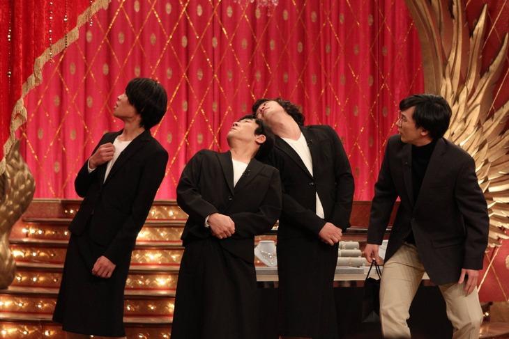 「ネタパレ」に出演するユニット・コント村の(左から)かが屋・加賀、ハナコ秋山、ゾフィー上田、ザ・マミィ林田。(c)フジテレビ