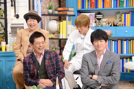 博多華丸・大吉と(後列左から)森三中・大島、おばたのお兄さん。(c)中京テレビ