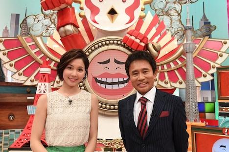 「そんなコト考えた事なかったクイズ! トリニクって何の肉!?」MCの浜田雅功、アシスタントのヒロド歩美アナ(左)。(c)ABCテレビ