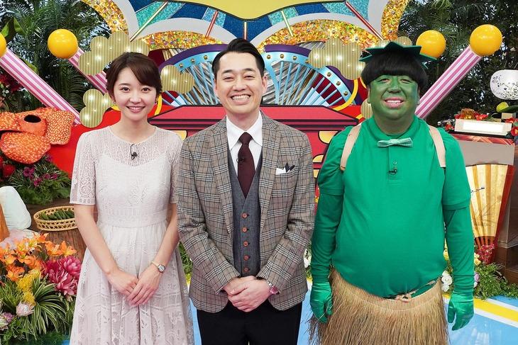 「笑われるニホン人」のMCを務めるバナナマンとアシスタントの竹崎由佳テレビ東京アナウンサー。