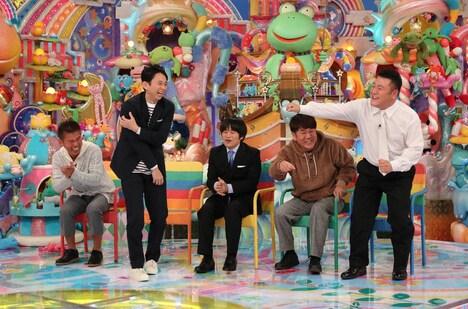 (左から)勝俣州和、有吉弘行、バカリズム、FUJIWARA藤本、アンタッチャブル山崎。(c)テレビ朝日