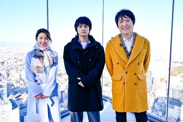 「スライス・ザ・ワールド 渋谷スクランブル交差点からまっすぐ地球1周してきた!」に出演する(左から)長野美郷、北村匠海、千原ジュニア。(c)CBC