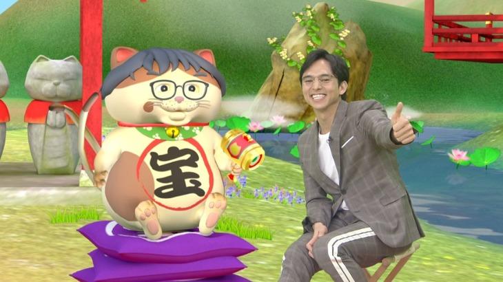 左からお宝ネコ、満島真之介。(c)日本テレビ