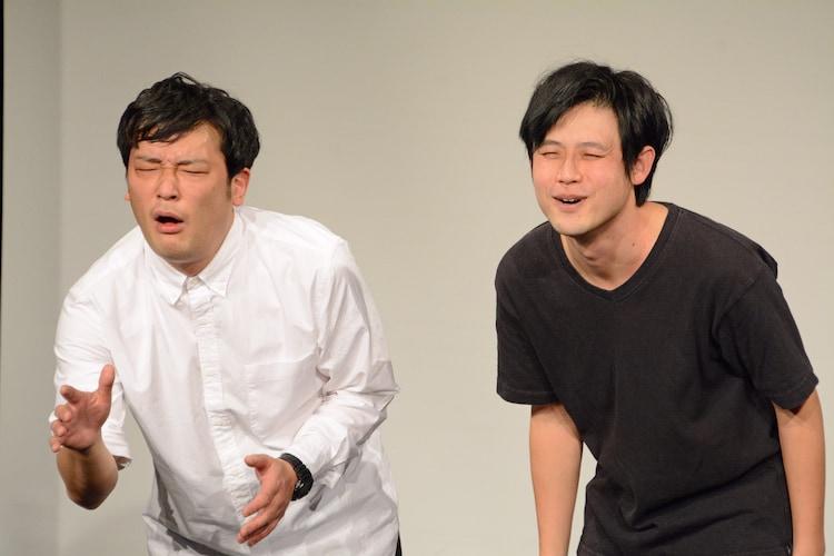 武田鉄矢の顔マネを披露する(左から)ガリットチュウ熊谷茶、オジンオズボーン篠宮。