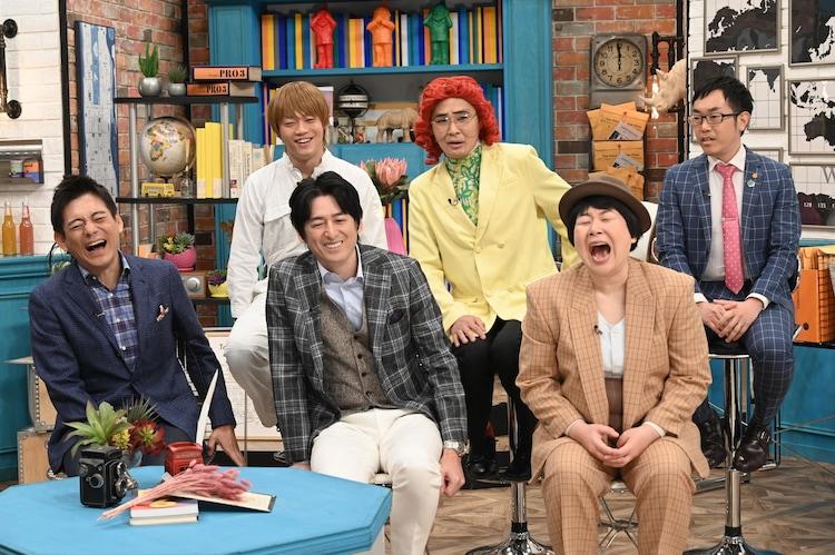 (前列左から)博多華丸・大吉、森三中・大島、(後列左から)おばたのお兄さん、アイデンティティ。(c)中京テレビ