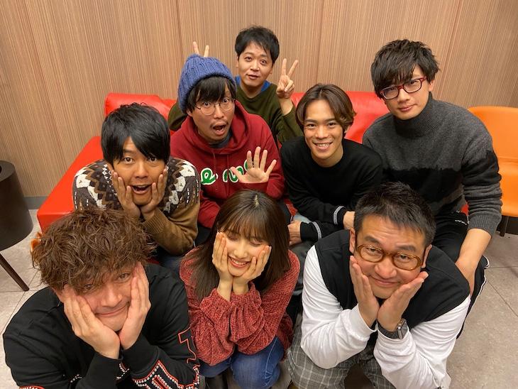 「あはれ!名作くん」のなすなかにし、うしろシティ、小野賢章、江口拓也、佐藤優樹、新海岳人監督。