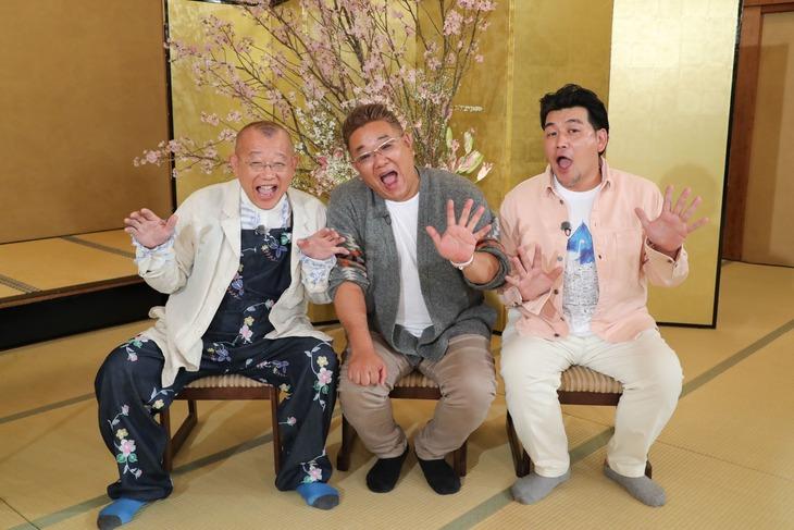 「ハロー!鶴瓶×サンド~ニッポンの外国人がやってきた~」に出演する(左から)笑福亭鶴瓶、サンドウィッチマン。(c)関西テレビ
