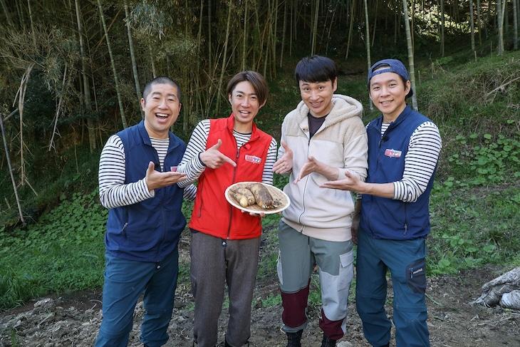 「相葉マナブ」に出演する(左から)ハライチ澤部、相葉雅紀、アンジャッシュ。(c)テレビ朝日