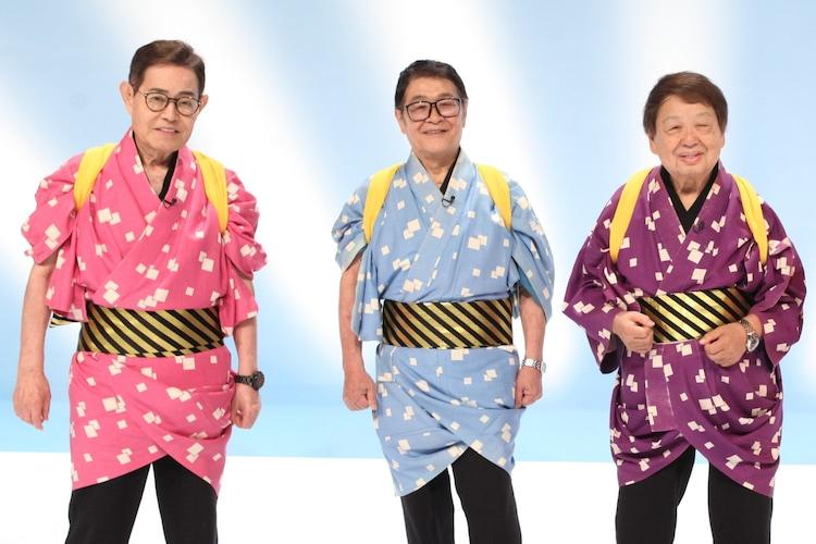 「志村友達 大集合SP」に出演するザ・ドリフターズの(左から)加藤茶、仲本工事、高木ブー。(c)フジテレビ
