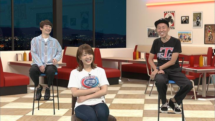 左から銀シャリ鰻、平嶋夏海、チュートリアル福田。(c)BS11