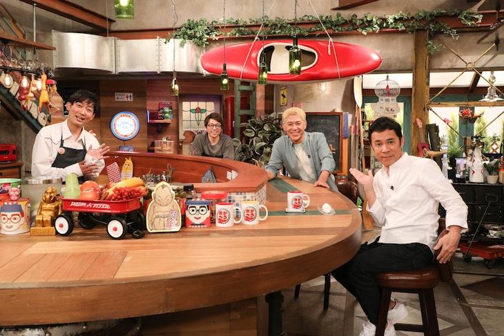 「おかべろ」に出演する(左から)NON STYLE石田、ロンドンブーツ1号2号、ナインティナイン岡村。(c)関西テレビ