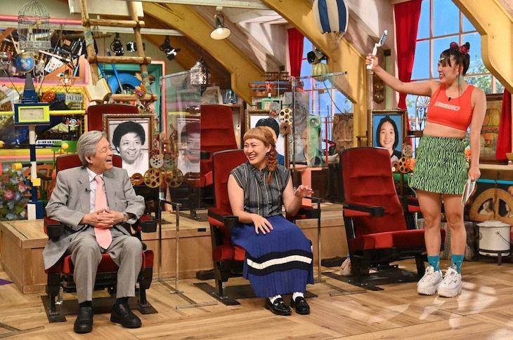 「あいつ今何してる?」に出演する(左から)田原総一朗、丸山桂里奈、フワちゃん。(c)テレビ朝日