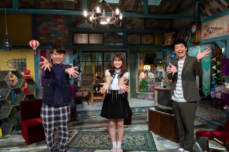 左からFUJIWARA藤本、渋谷凪咲、麒麟・川島。(c)読売テレビ