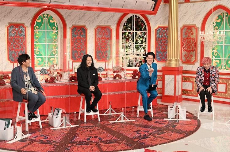 (左から)ミキ亜生、ピース又吉、霜降り明星・粗品、EXIT兼近。(c)TBS