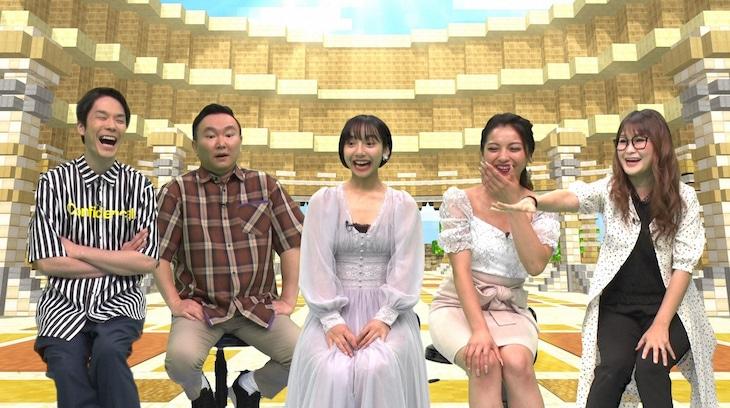 「土曜☆ブレイク『快答!50面SHOW』」に「濱家チーム」として出演する(左から)かまいたち、山之内すず、ゆきぽよ、ギャル曽根。(c)TBS
