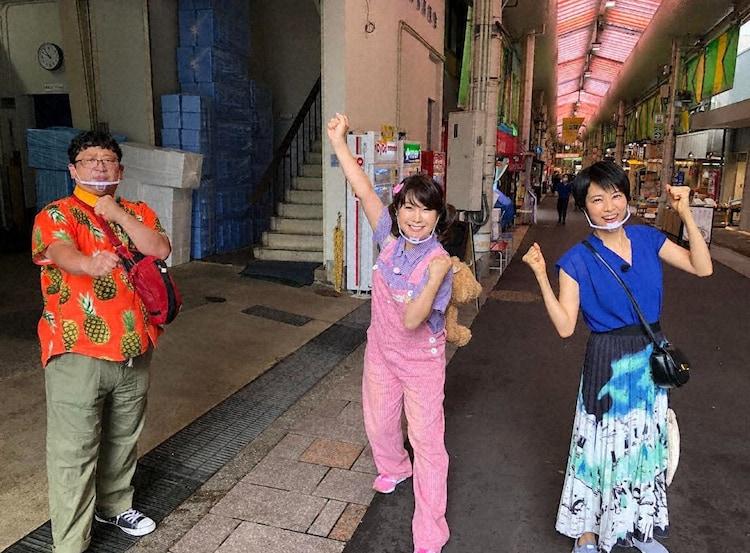 (左から)Wエンジン・チャンカワイ、はるな愛、村井美樹の鉄道チーム。(c)テレビ東京